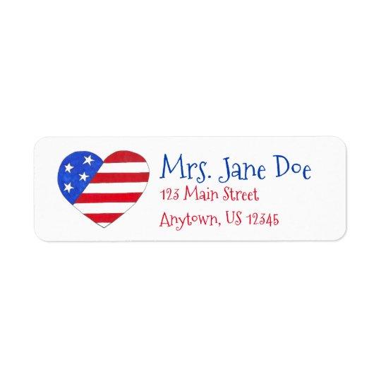 Patriotic Love USA American Flag Heart Print Label