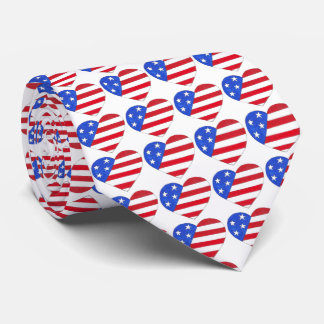 Patriotic Love USA July 4th American Flag Tie
