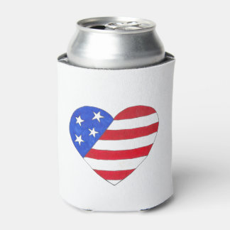 Patriotic Love USA July 4th Stars and Stripes Flag Can Cooler