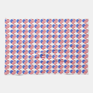 Patriotic Love USA July 4th Stars and Stripes Flag Kitchen Towel