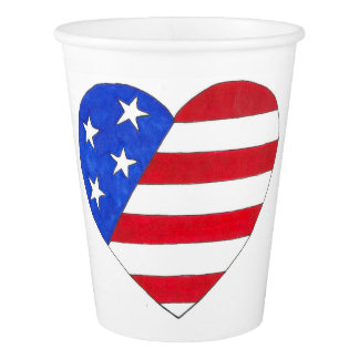 Patriotic Love USA July 4th Stars Stripes Flag Cup