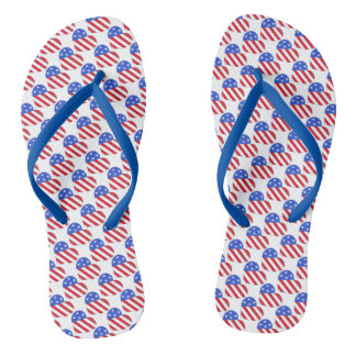 Patriotic Love USA Stars Stripes Heart American Flip Flops
