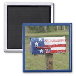 Patriotic Mailbox 2 Inch Square Magnet