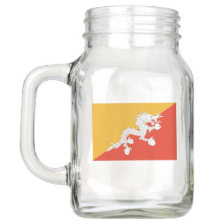 Patriotic Mason Jar with Flag of Bhutan