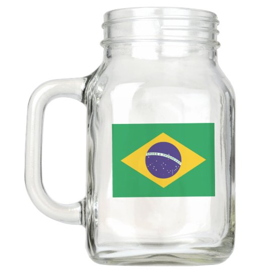 Patriotic Mason Jar with Flag of Brazil