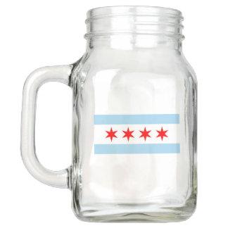 Patriotic Mason Jar with Flag of Chicago, USA