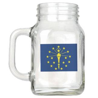 Patriotic Mason Jar with Flag of Indiana, USA