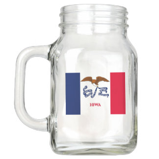 Patriotic Mason Jar with Flag of Iowa, USA
