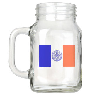 Patriotic Mason Jar with Flag of New York City