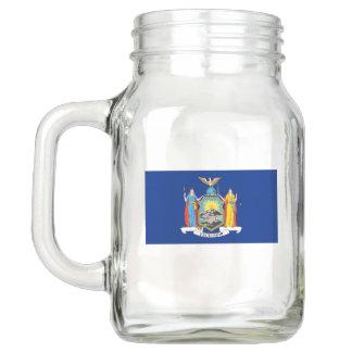 Patriotic Mason Jar with Flag of New York, USA