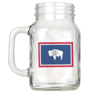Patriotic Mason Jar with Flag of Wyoming, USA