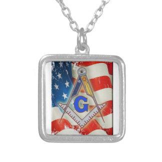 Patriotic Mason Silver Plated Necklace