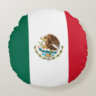 Patriotic Mexican Flag Round Pillow