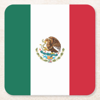Patriotic Mexican Flag Square Paper Coaster