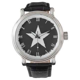 Patriotic Military Army War White Star Symbol Sign Watch