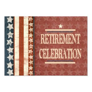 "Patriotic Military Veteran Retirement Celebration 5"" X 7"" Invitation Card"