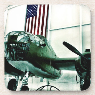 Patriotic Military WWII Plane with American Flag Beverage Coaster