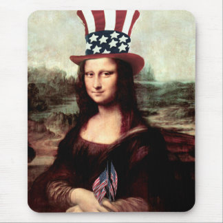 Patriotic Mona Lisa - Ready for Independence Day Mouse Pad