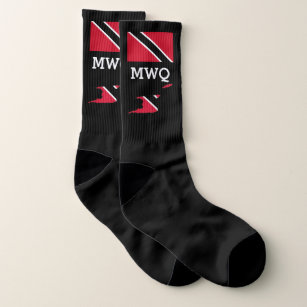 Patriotic   Monogrammed   Flag of TRINIDAD Socks