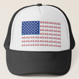 Patriotic Motorcycle Flag with a Blue Shadow Trucker Hat