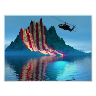 Patriotic Mountain Poster
