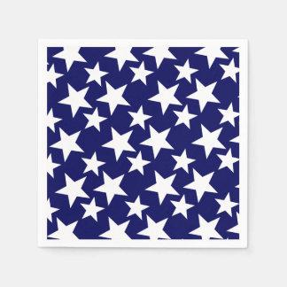 Patriotic Navy Blue w White Stars Disposable Napkins