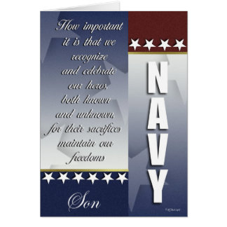 Patriotic Navy Troop Support Card - Son