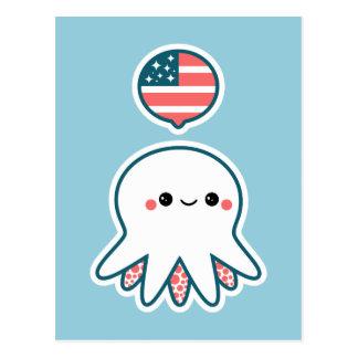 Patriotic Octopus Postcard