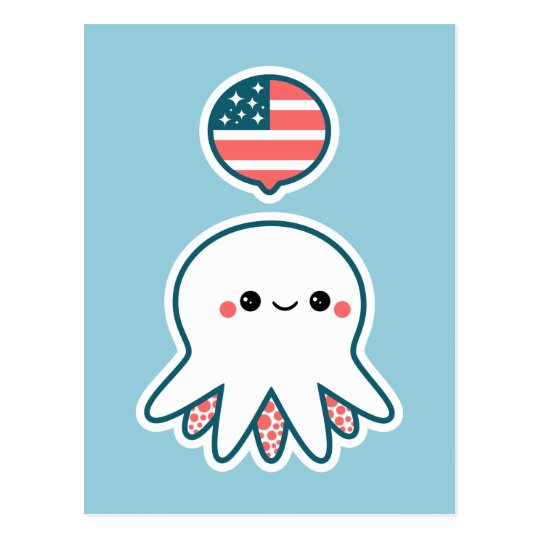 Patriotic Octopus Postcard