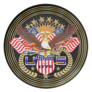Patriotic or Veteran View Artist Comments Below Dinner Plates
