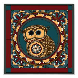 Patriotic Owl Mandala Photographic Print