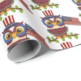 Patriotic owl water melon cookout party wrap wrapping paper