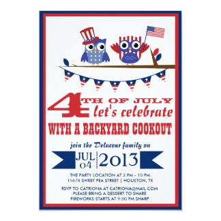 Patriotic Owls Fourth of July Party Invitation
