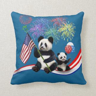 Patriotic Pandas Throw Pillow