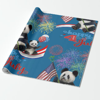 PATRIOTIC PANDAS WRAPPING PAPER