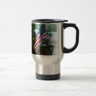 """Patriotic Pansy Window Box"" Travel Mug"