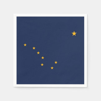 Patriotic paper napkins with flag of Alaska, USA