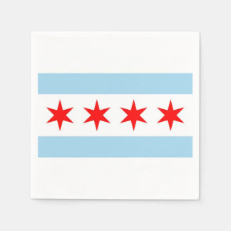 Patriotic paper napkins with flag of Chicago