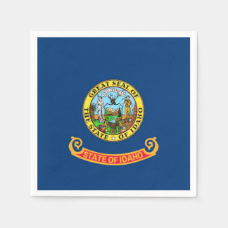 Patriotic paper napkins with flag of Idaho