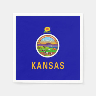 Patriotic paper napkins with flag of Kansas