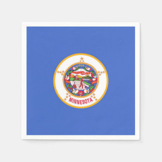 Patriotic paper napkins with flag of Minnesota