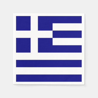 Patriotic paper napkins with Greece flag