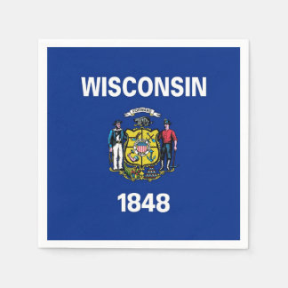 Patriotic paper napkins with Wisconsin flag