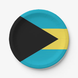 Patriotic paper plate with flag of Bahamas