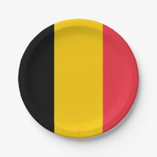 Patriotic paper plate with flag of Belgium