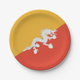 Patriotic paper plate with flag of Bhutan