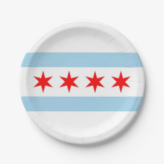 Patriotic paper plate with flag of Chicago