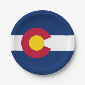 Patriotic paper plate with flag of Colorado
