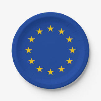 Patriotic paper plate with flag of European Union