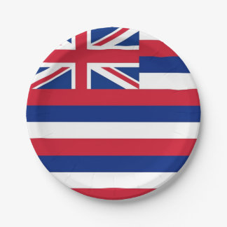 Patriotic paper plate with flag of Hawaii